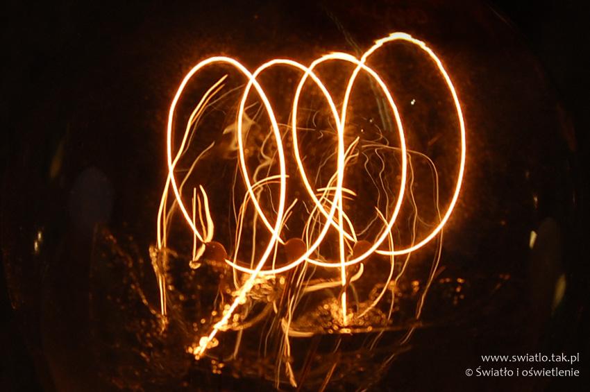 Żarnik - włókno wolframowe w żarówce