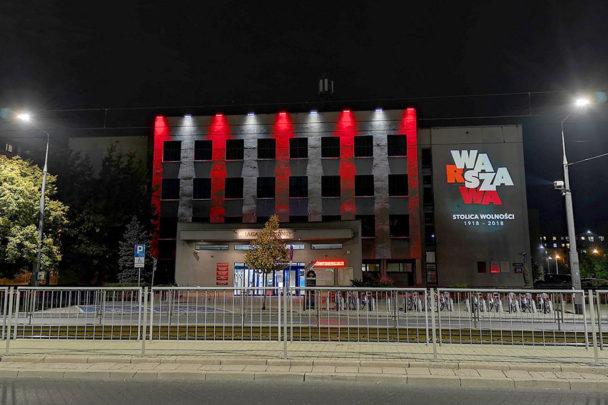 Iluminacja niepodległościowa Urzędu Dzielnicy Praga-Południe m.st. Warszawy