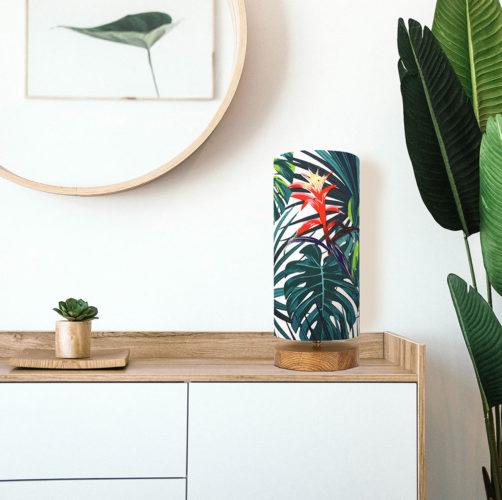 Lampa stołowa drewniana - tropikalna